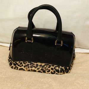 Authentic Furla Black and Leopard Print Hand Bag